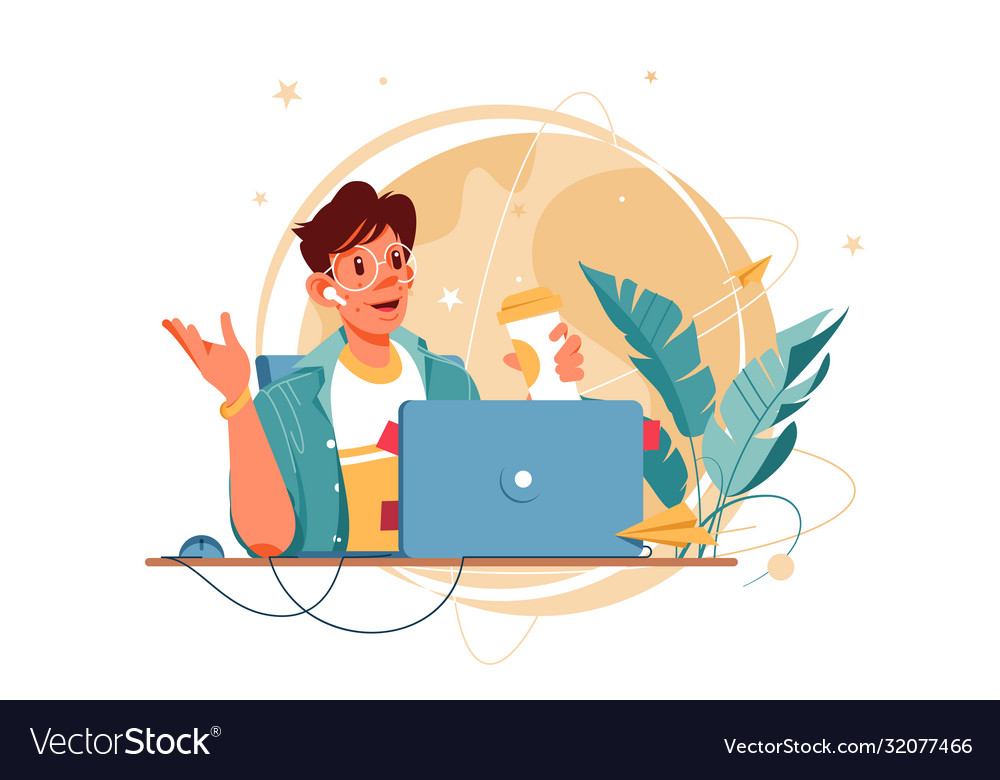 Happy man with glasses using laptop for distance