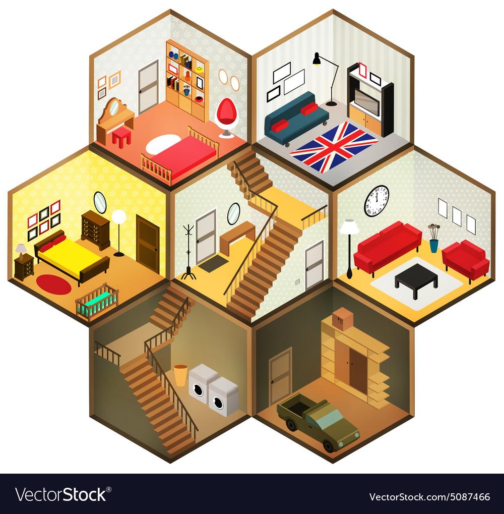 Isometric rooms icon vector image