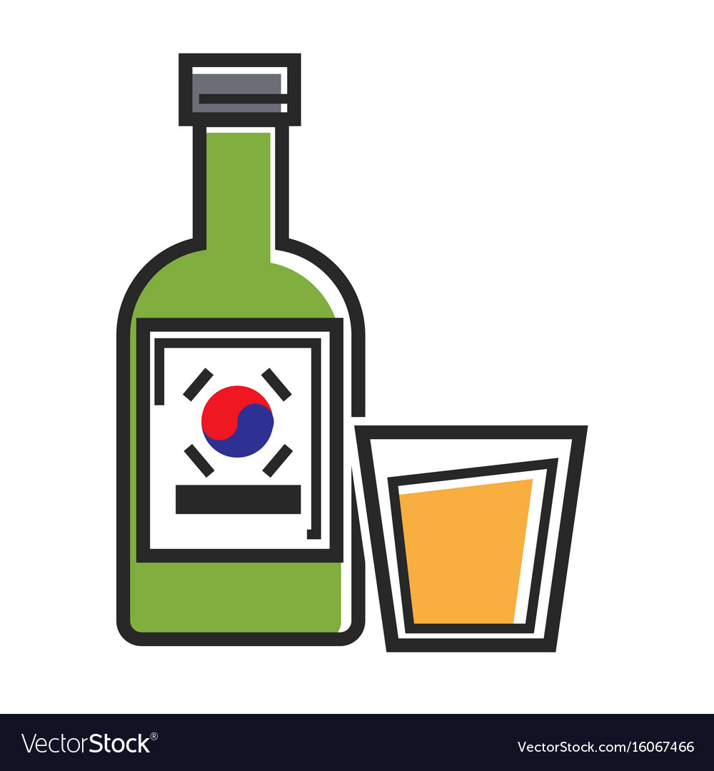 Korean drink in bottle and glass cup isolated