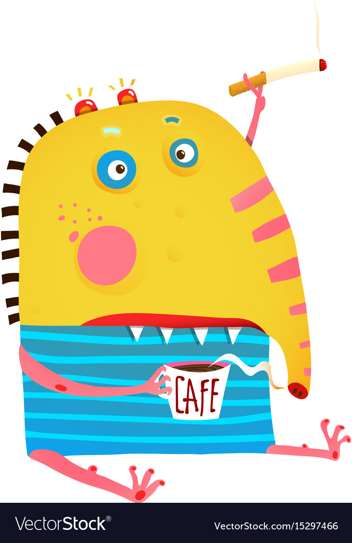monster sitting with coffee and cigarette smoking vector image