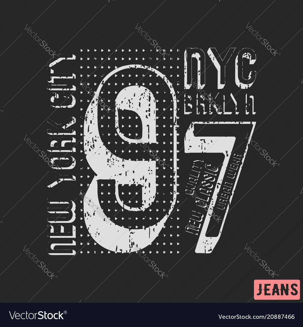 New york city brooklyn print design vector image