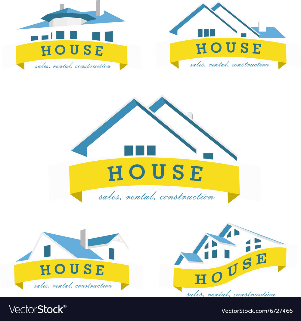 Set house logo design template Realty theme icon