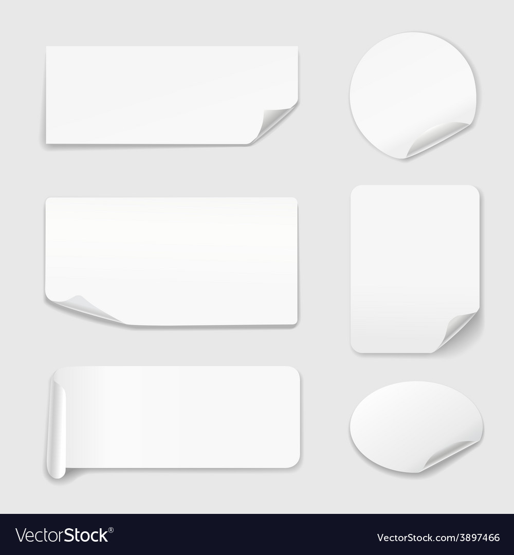 White Stickers - Set of paper stickers isolated on