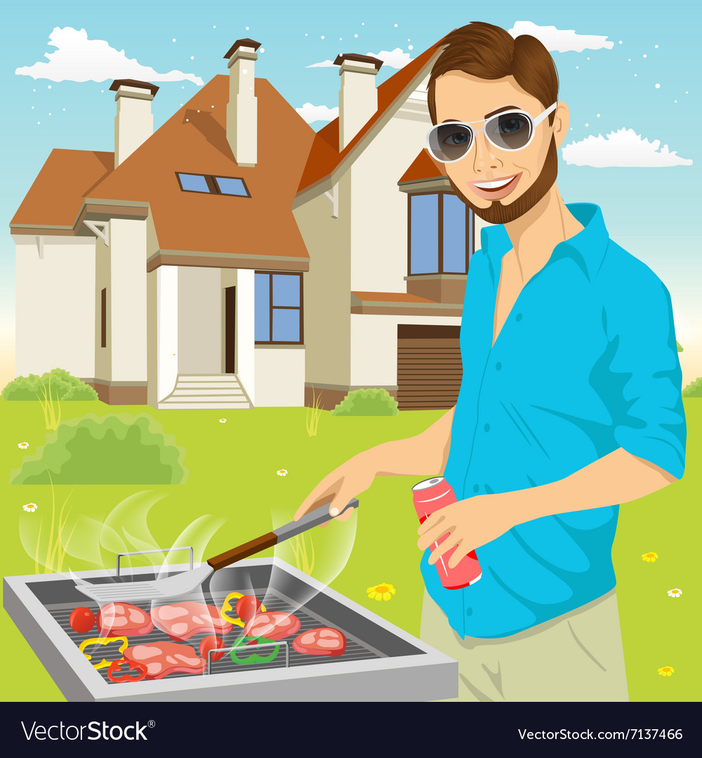 Young hipster man barbecuing meat on the grill vector image