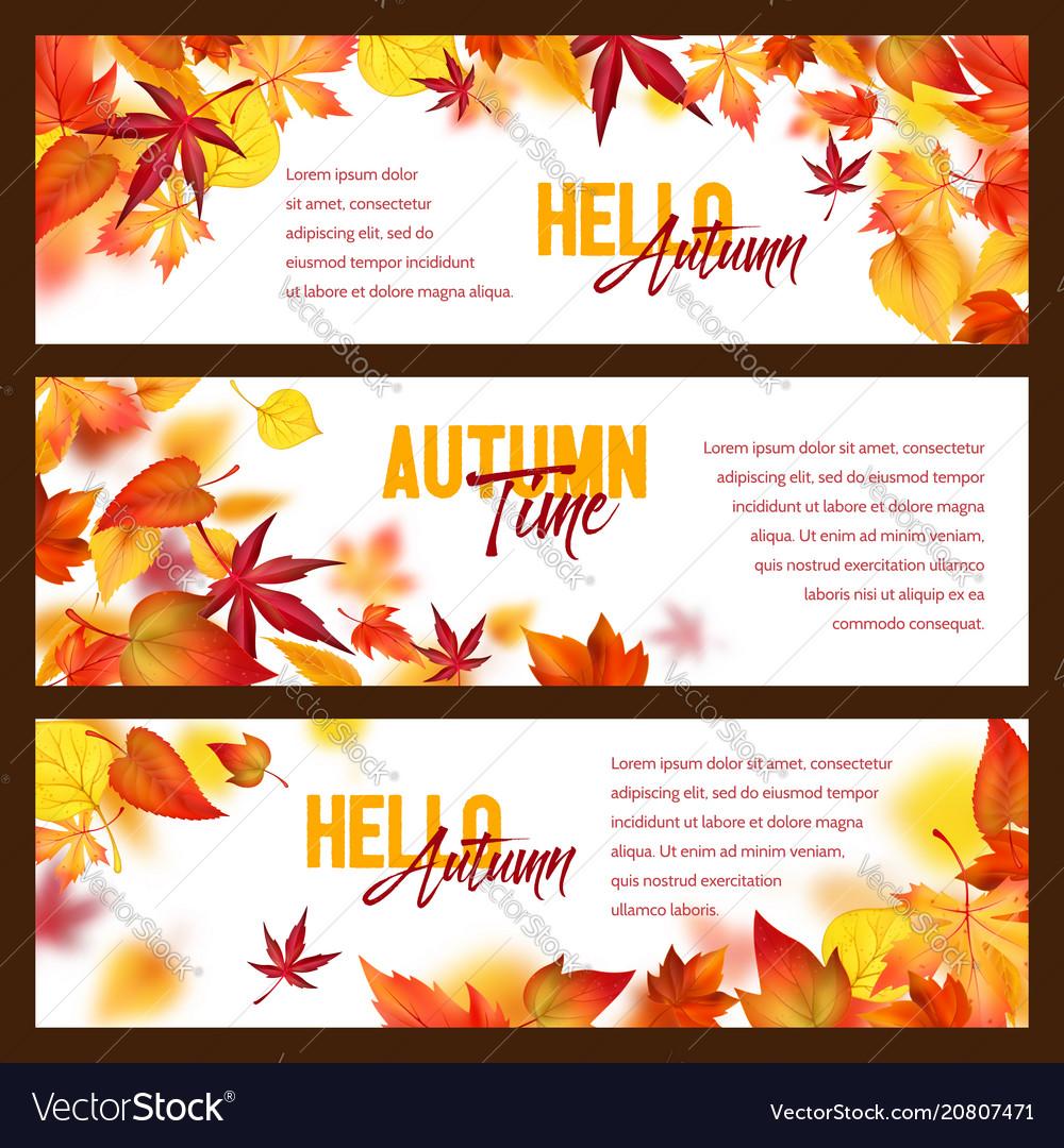 Autumn foliage fall falling leaves banners