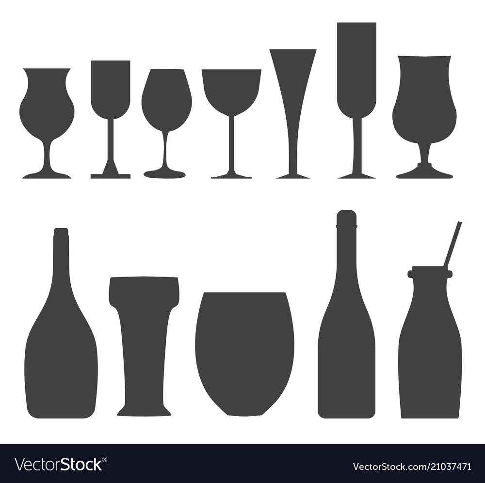 Bottles and glasses outline icons
