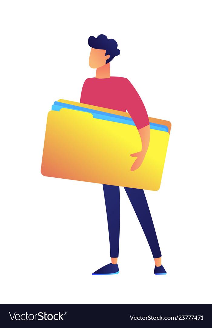 Businessman holding big opened file folder