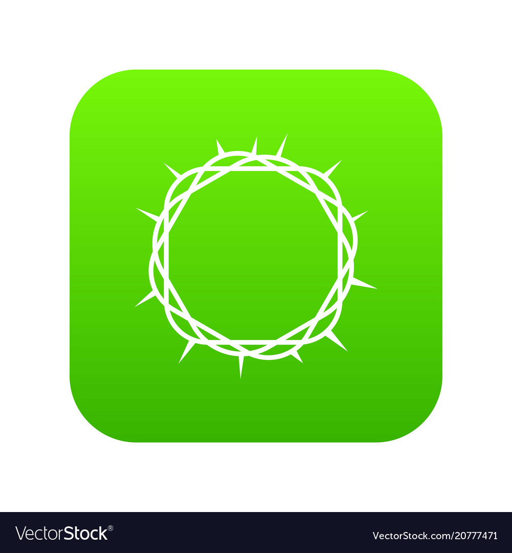 Crown of thorns icon digital green