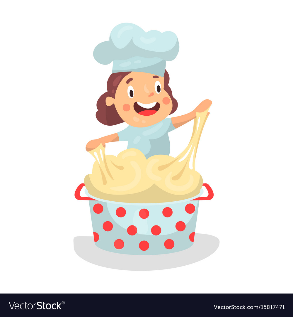 Cute cartoon little girl chef character kneading