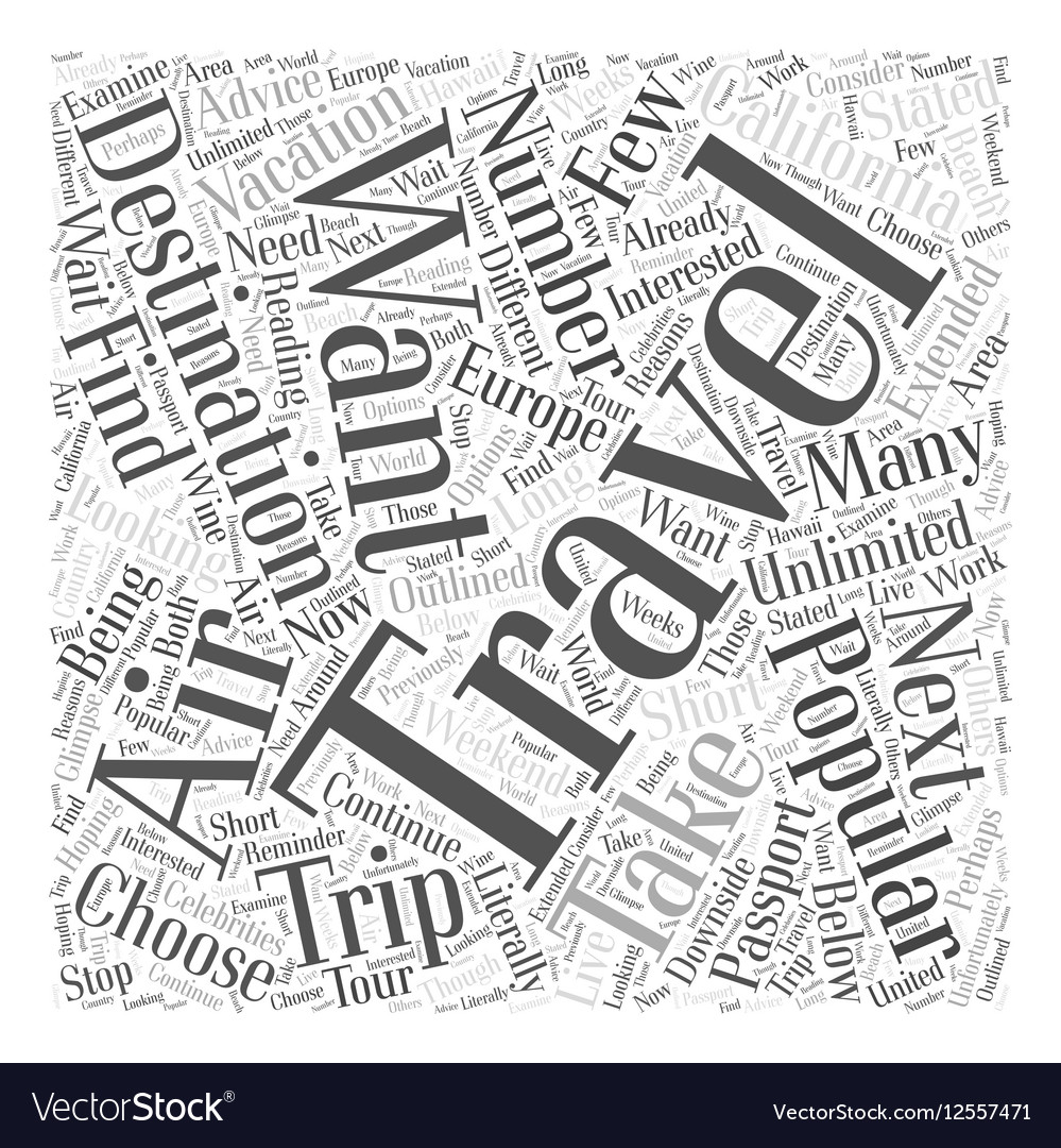 destinations popular for air travelers word cloud vector image