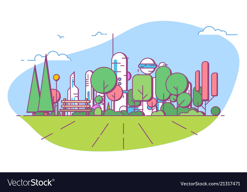 Futuristic city park with bench