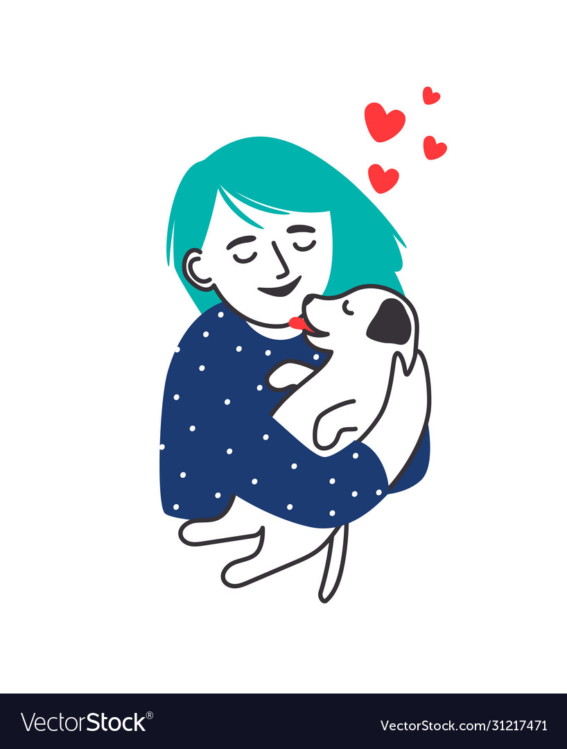 Girl hugs puppy portrait sketch