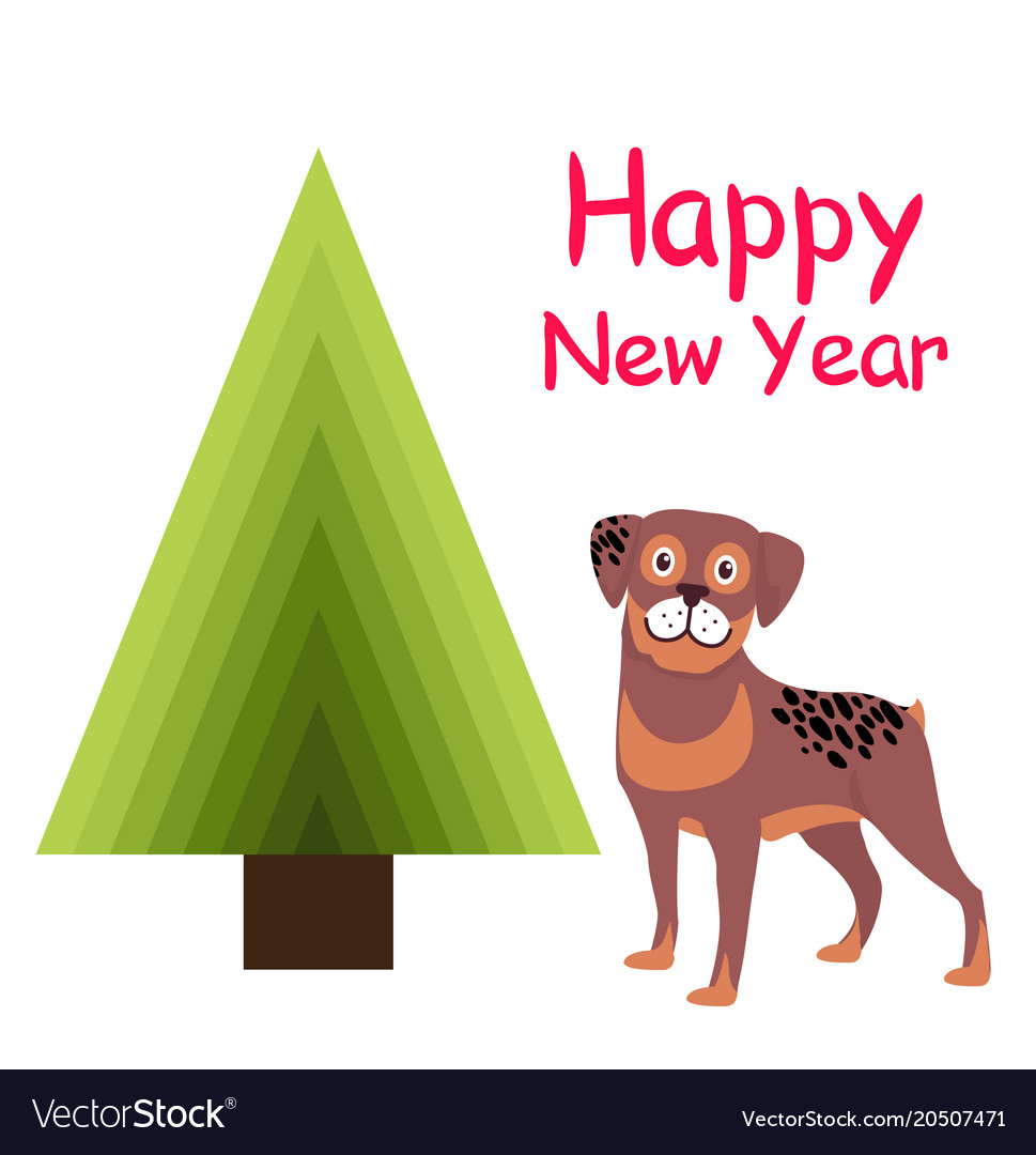 Happy new year greeting card cartoon spotted puppy vector image