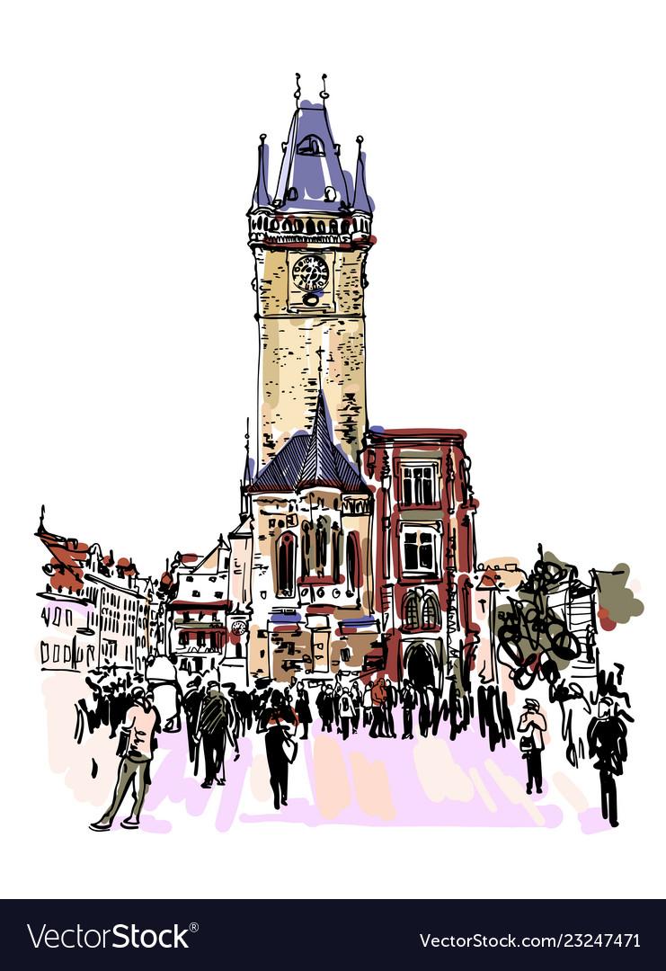 Prague clock tower sketch drawing czech republic