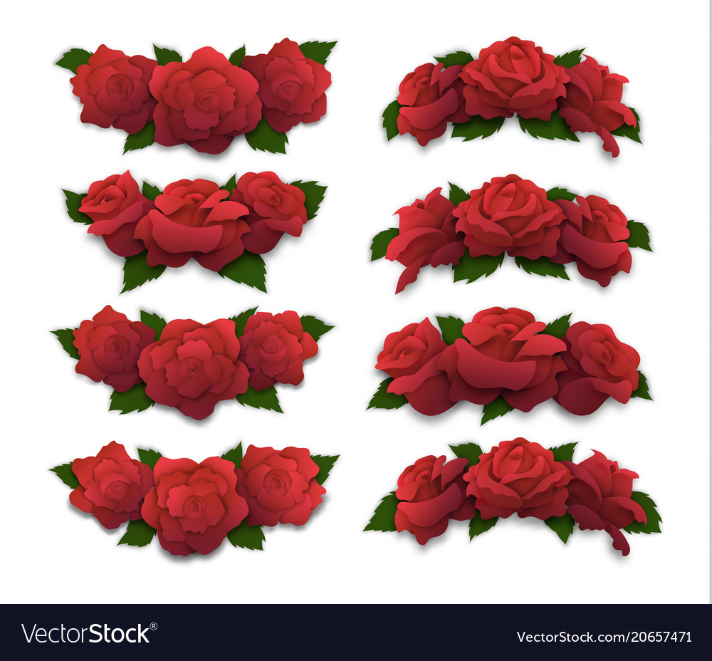 Red rose half-oval crowns and diadems