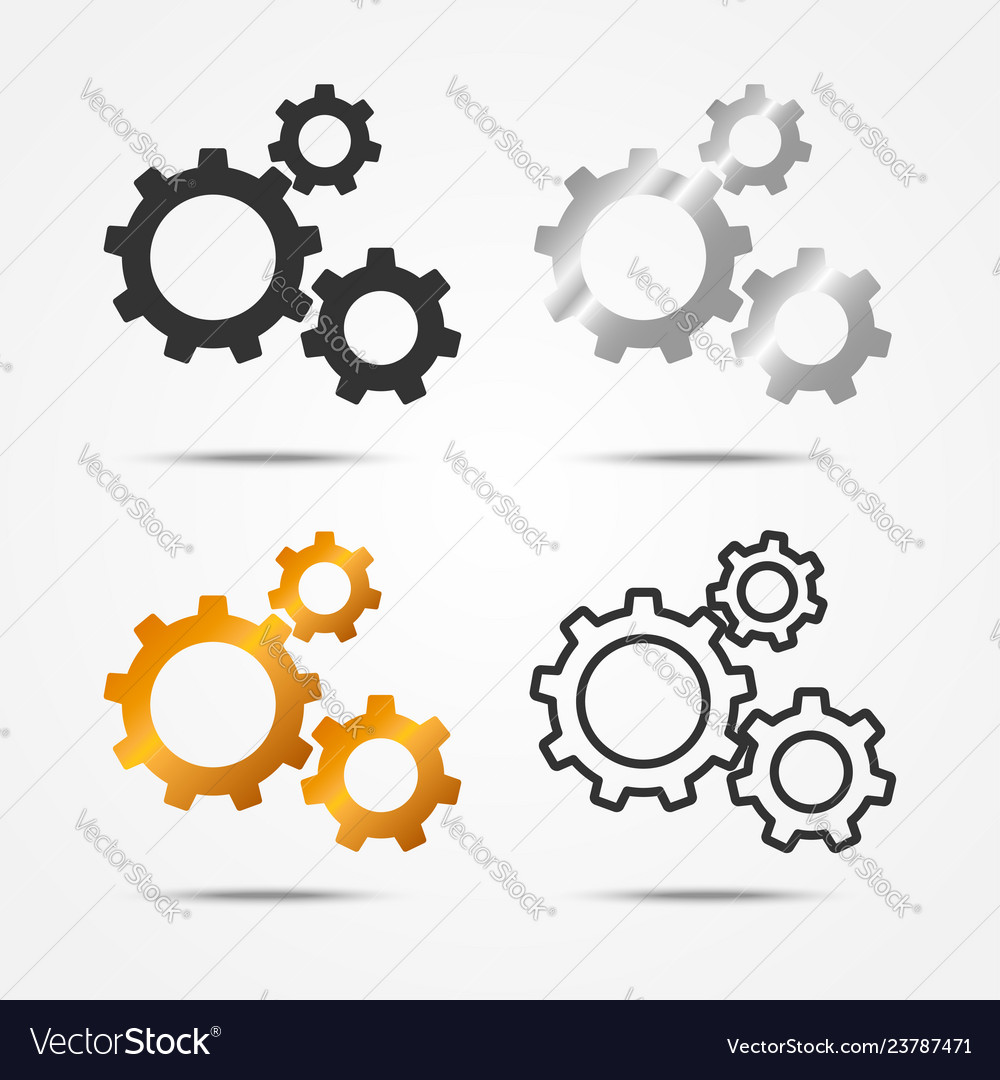 Set of black gray silver and gold 3 gears icon