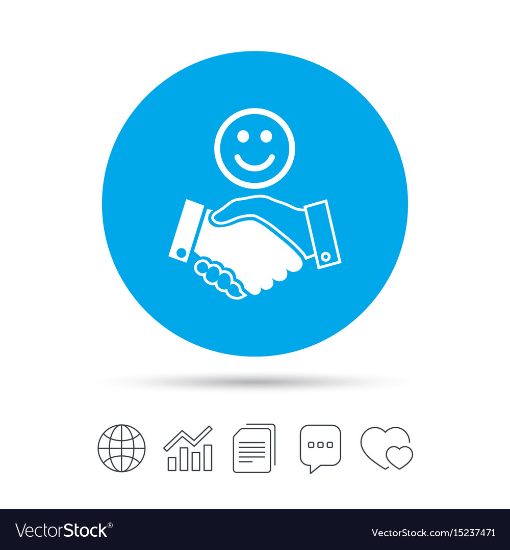 Smile handshake sign icon successful business