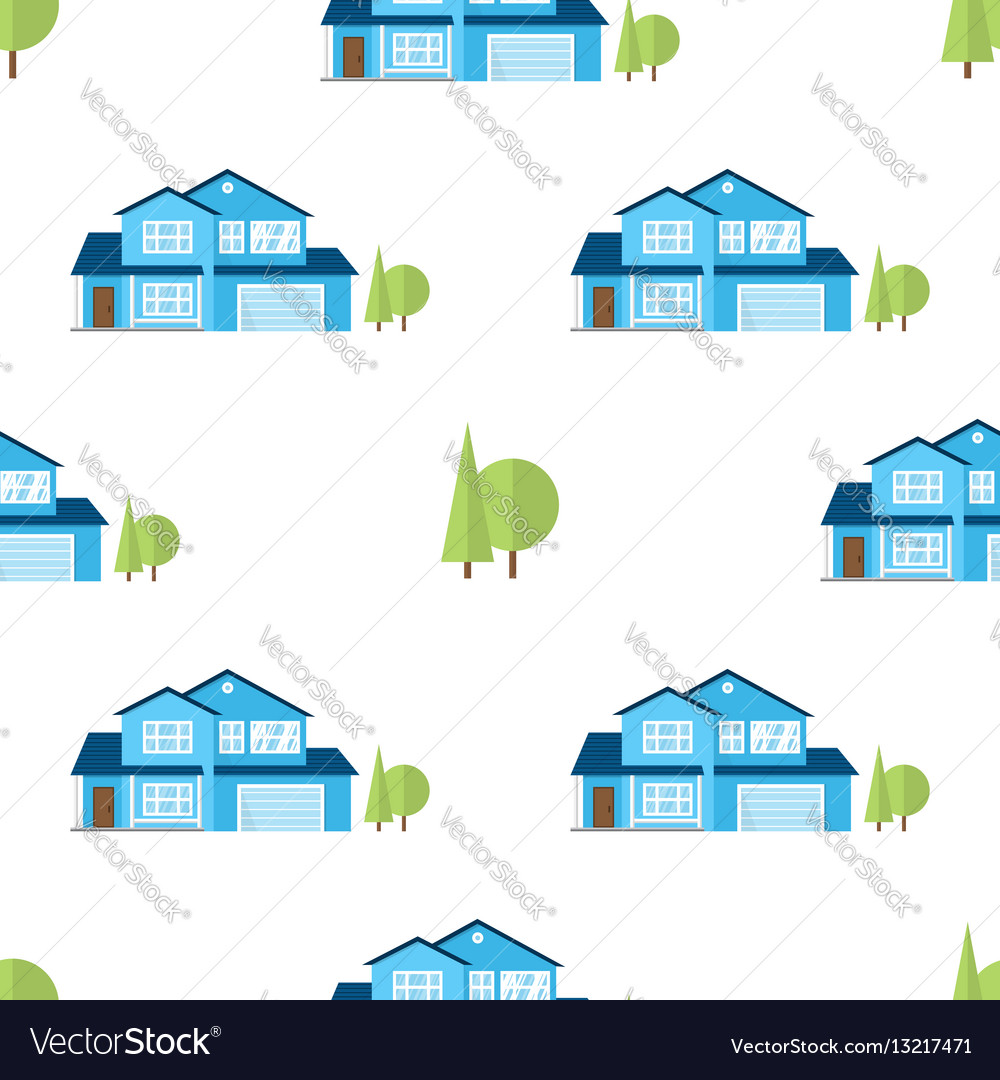 Suburban american houses seamless pattern