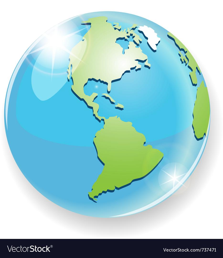 Transparent blue globe vector image