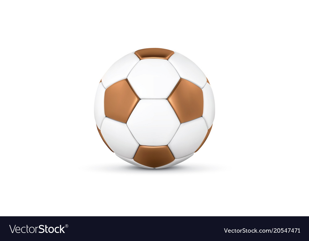 White and gold soccer ball on white background vector image