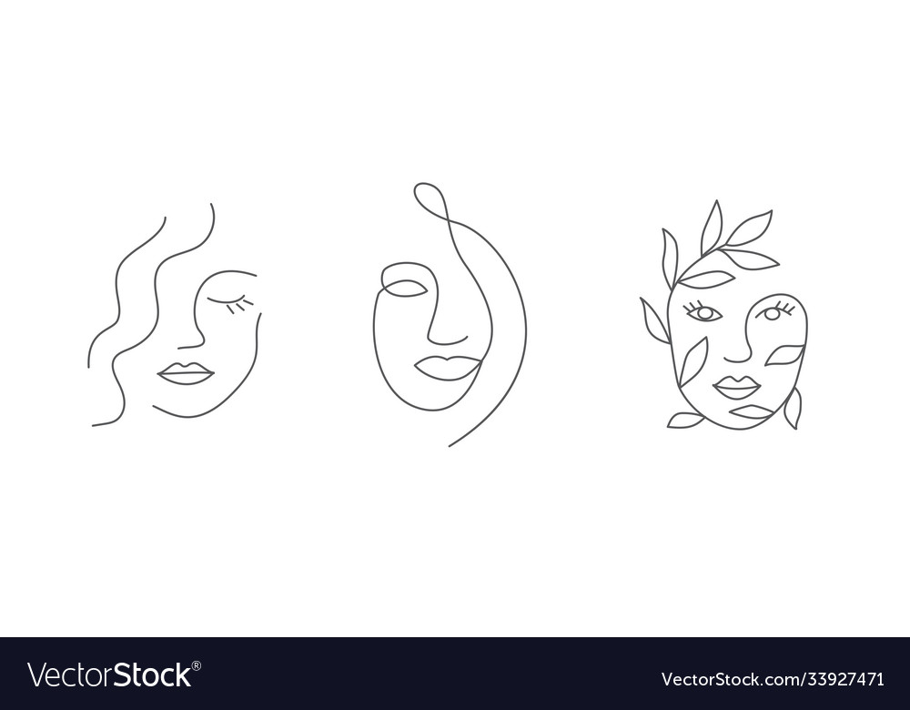 Woman face in line style on white background