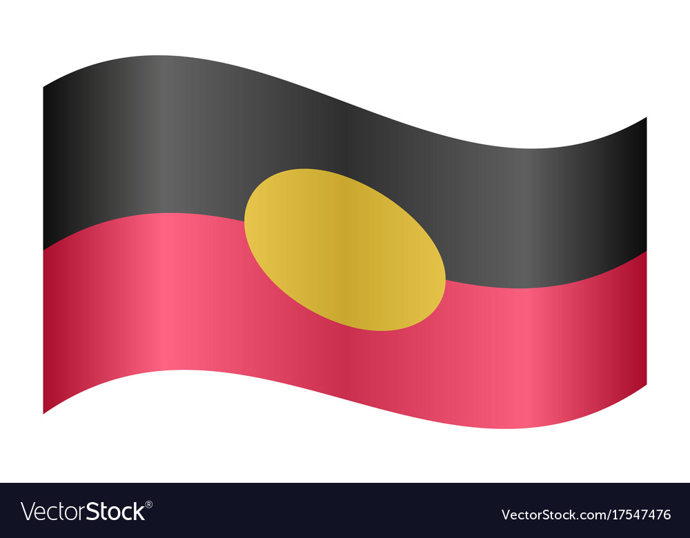 Australian aboriginal flag waving white background vector image