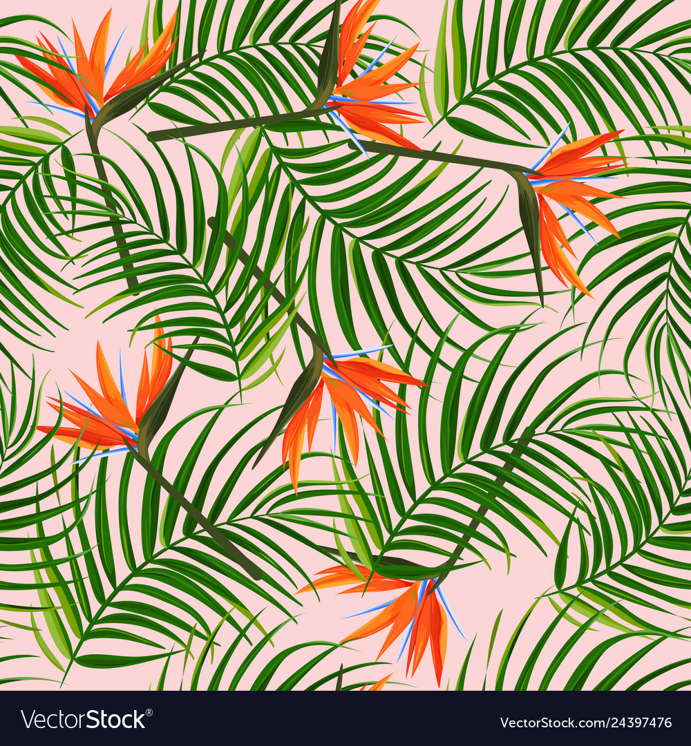Bright tropical background palm leaves and bird