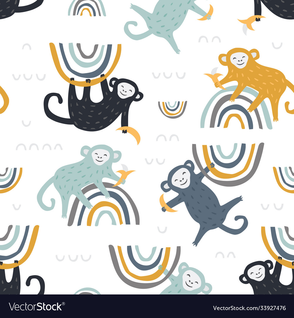 Childish seamless pattern with cute monkey and vector