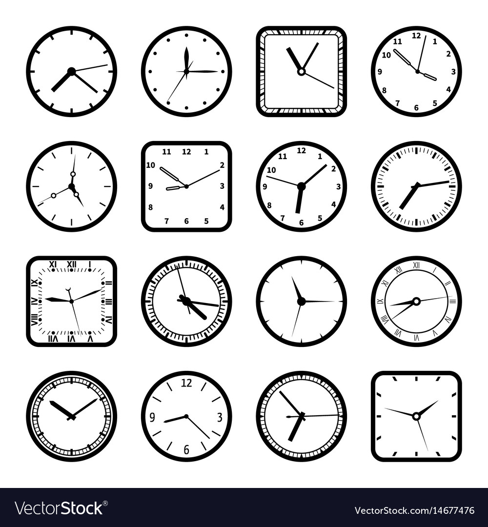 Digital wall clock faces time icons set