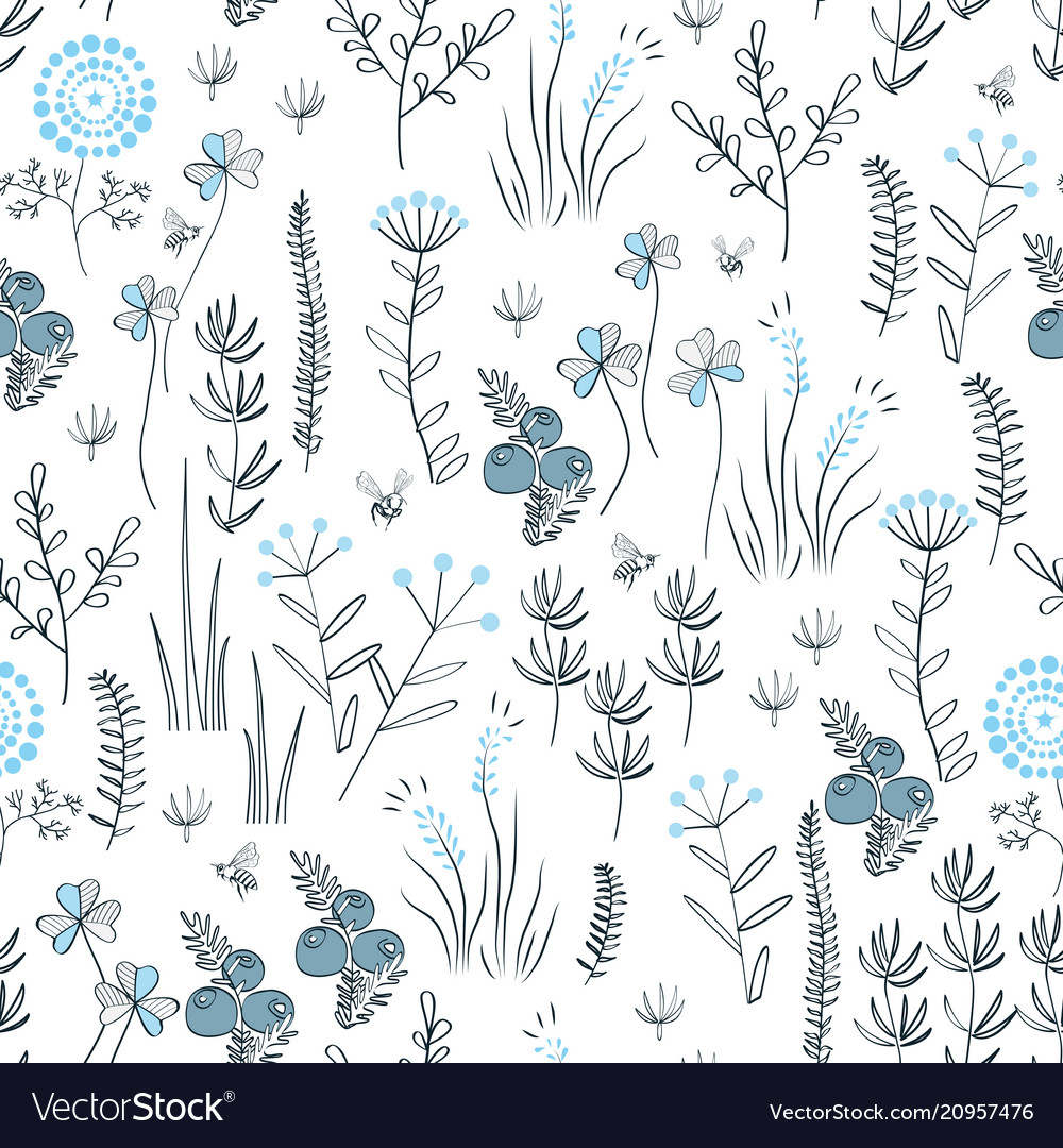 Floral seamless pattern with wild herbs forest