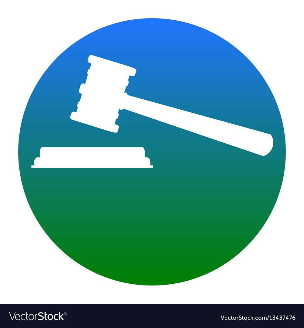 Justice hammer sign white icon in bluish