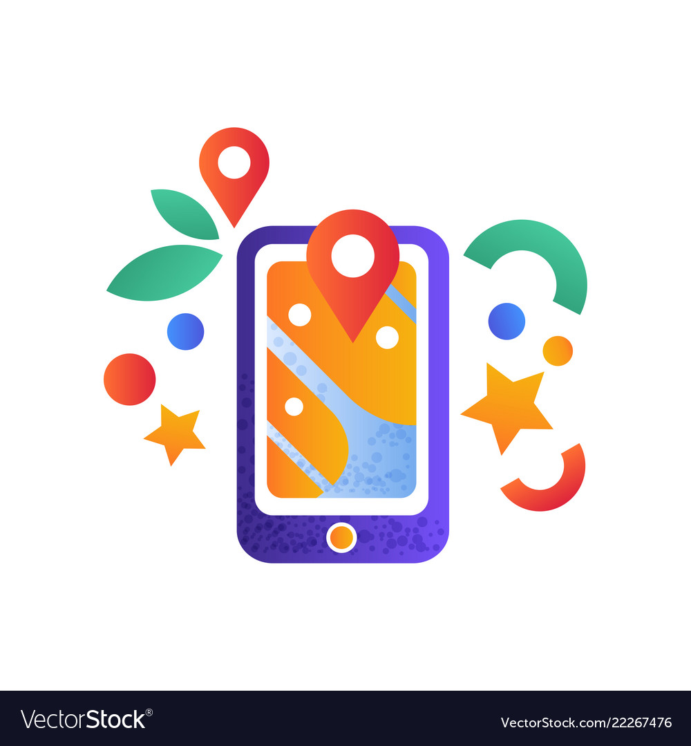 Navigation map on smartphone mobile gps
