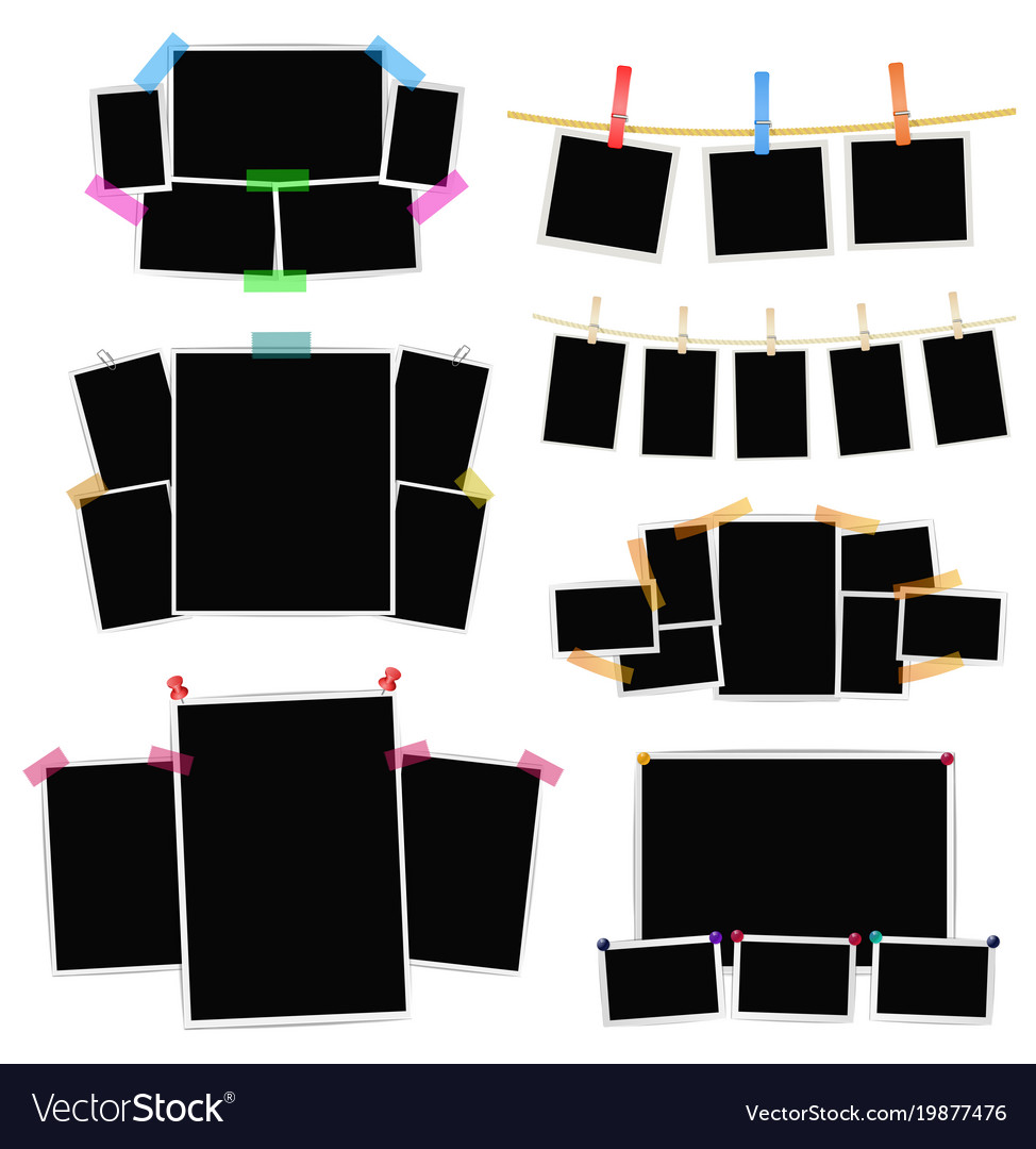 Photo frames collage set on white background Vector Image