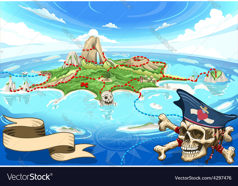 Pirate Cove Island - Treasure Map vector image