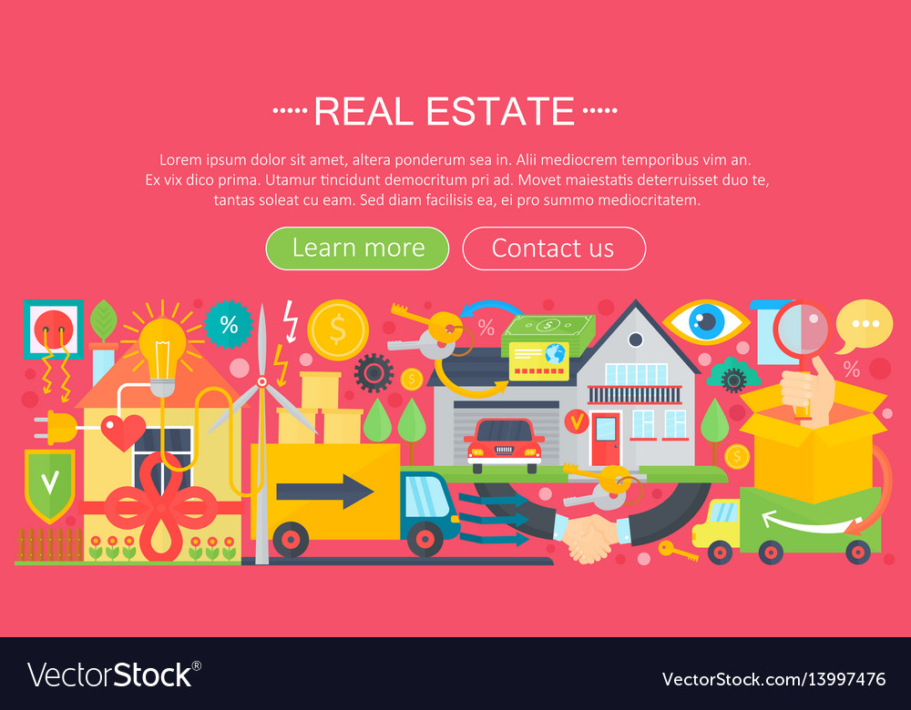 Real estate design concept set with online search