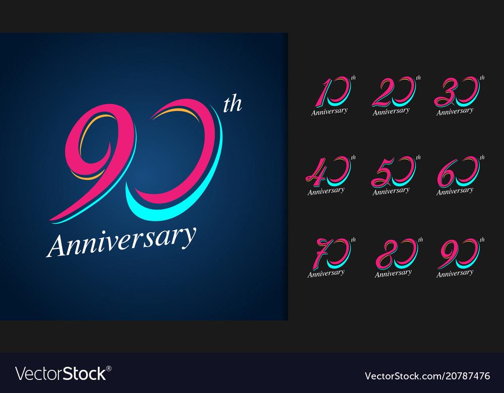 Set of anniversary logotype colorful anniversary