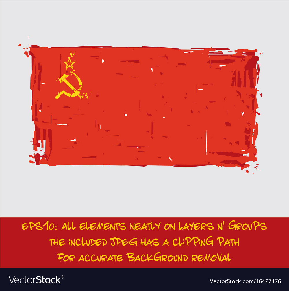 Soviet union flag flat - artistic brush strokes