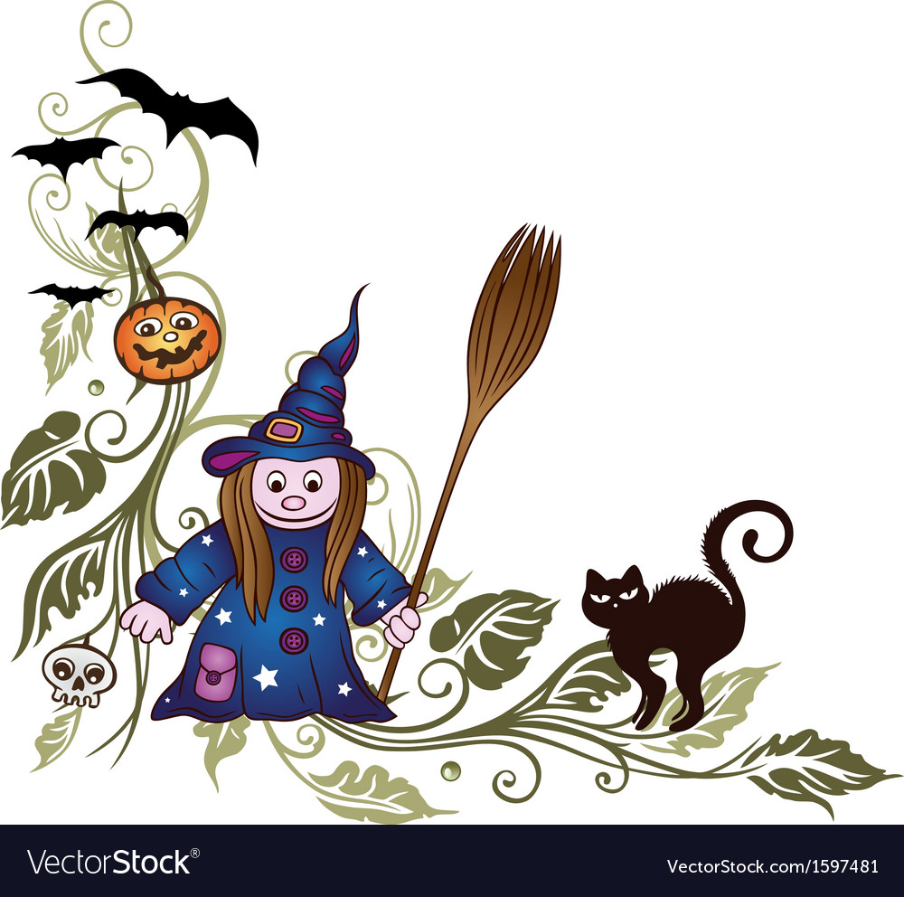 Halloween leaves witch