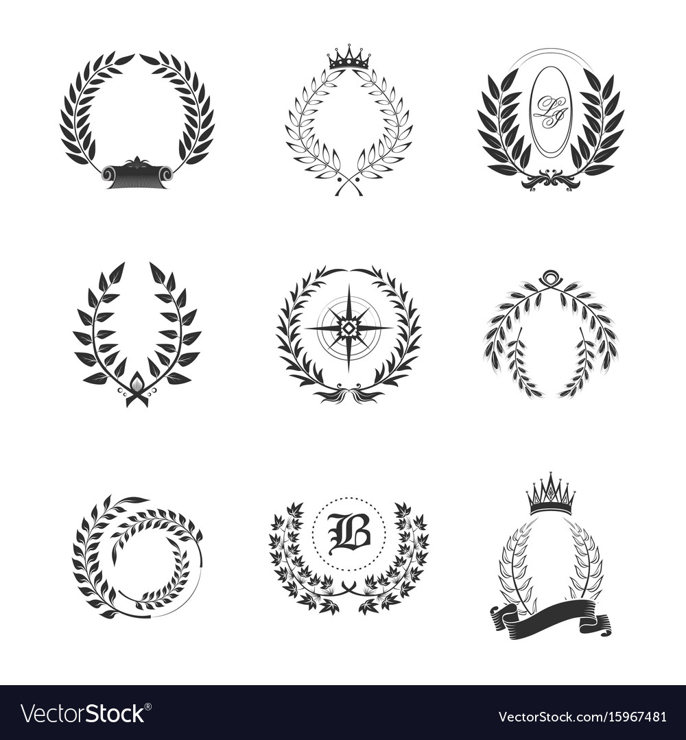 Leaf ornaments for generic or tribal family sign vector image