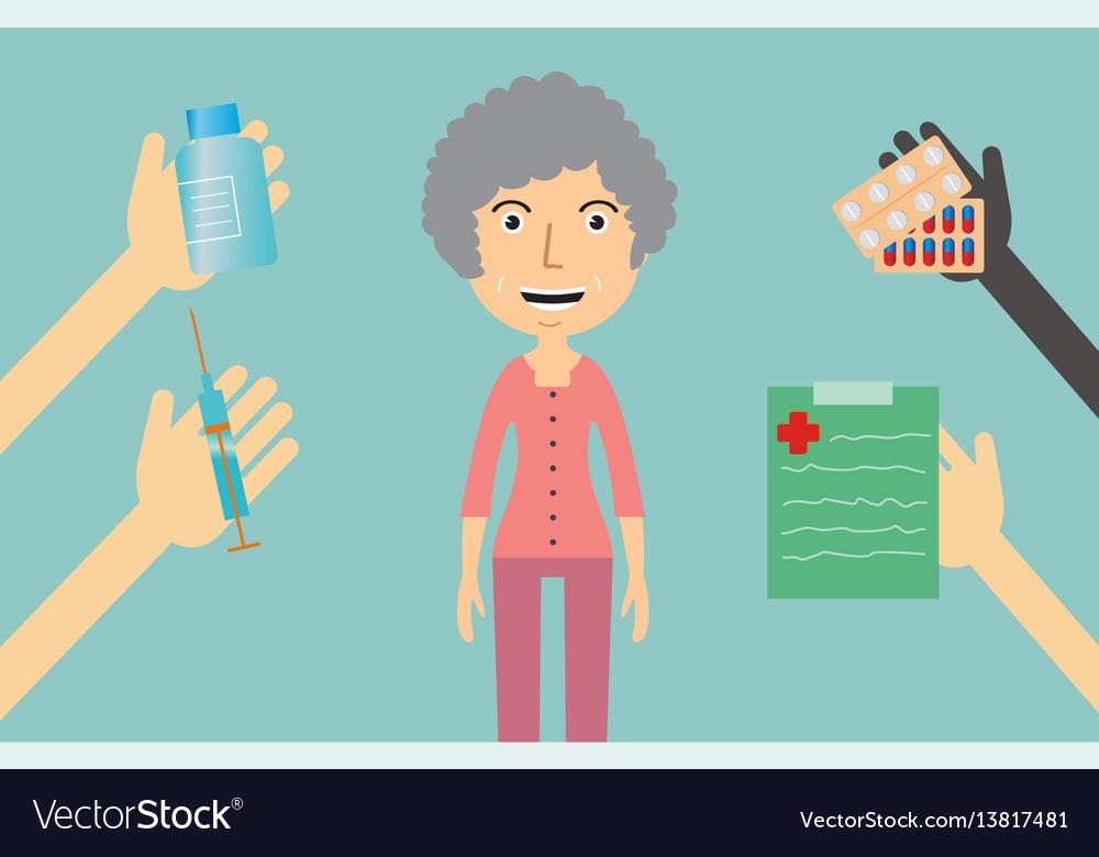 Medicine concept - a woman receives medication