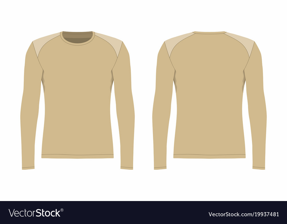 5dc1fbb3 Mens beige long sleeve t shirt Royalty Free Vector Image
