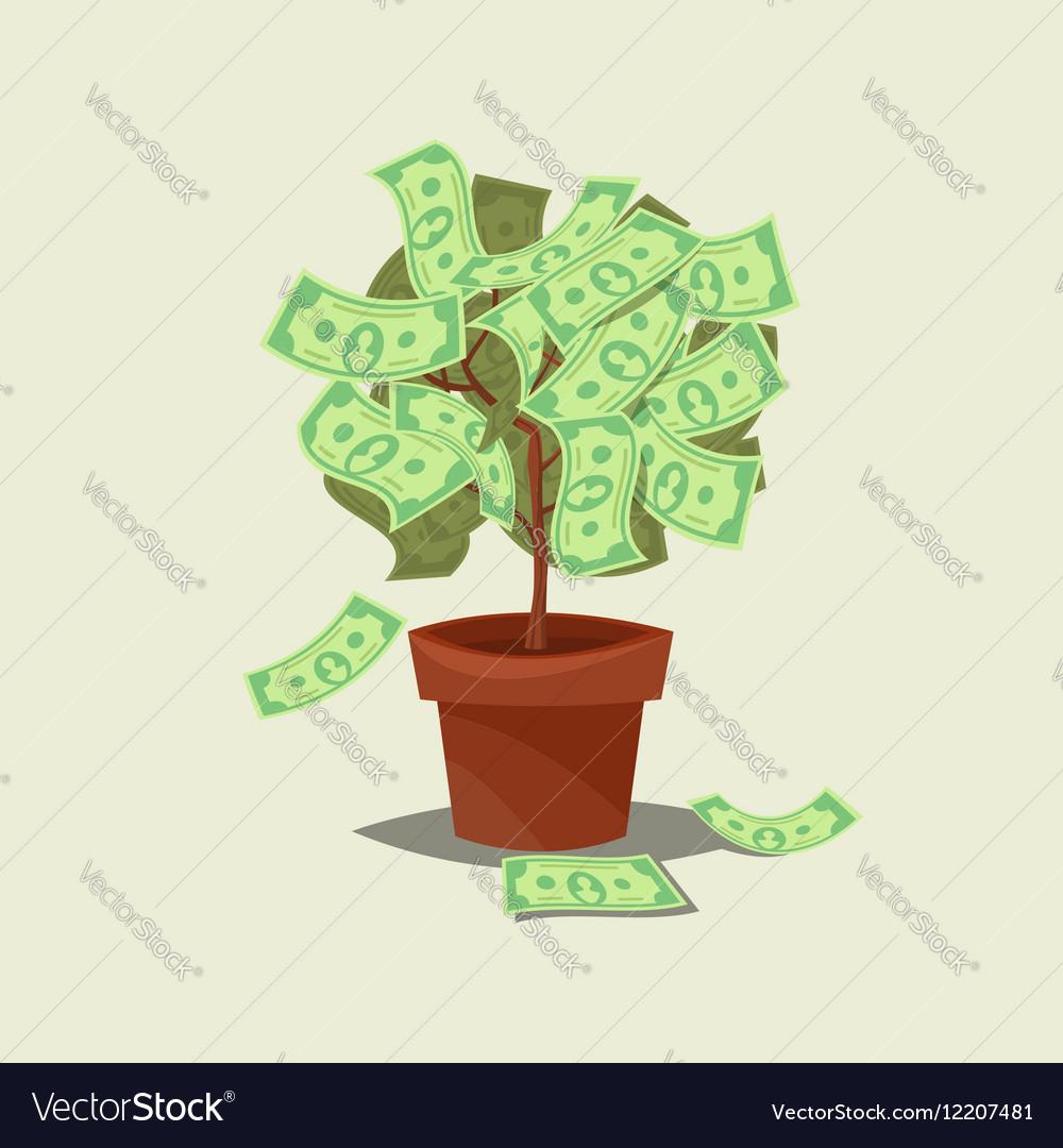 Money tree icon flat Isolated on background