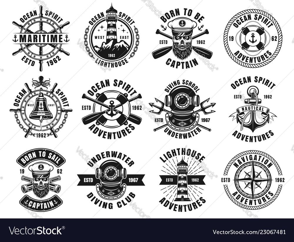 Nautical thematic big set of retro emblems