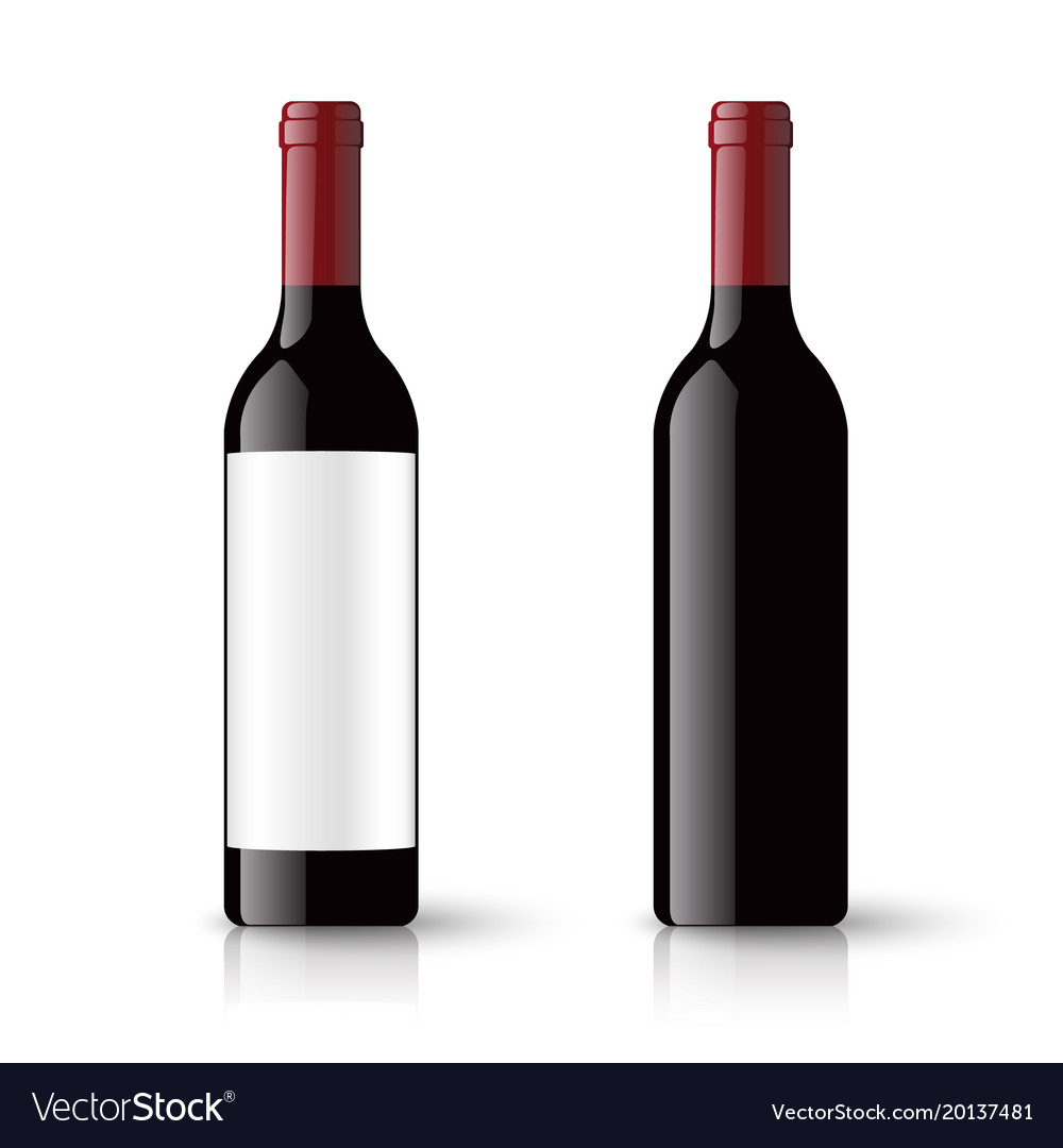 Red wine bottles and empty label isolated on