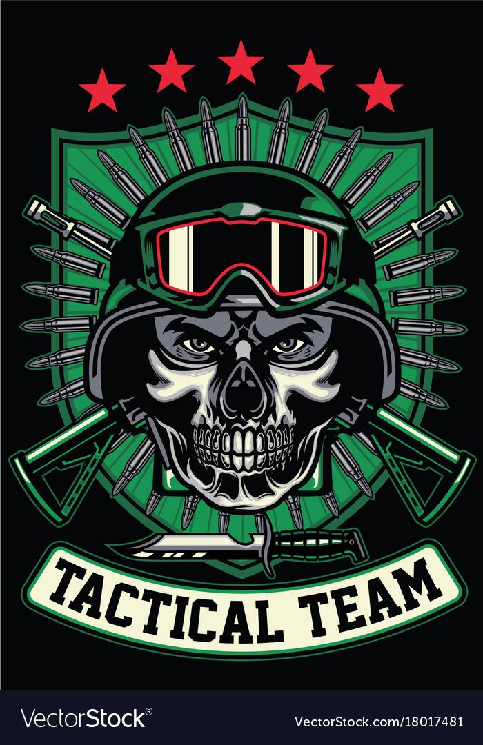 Soldier wearing skull mask
