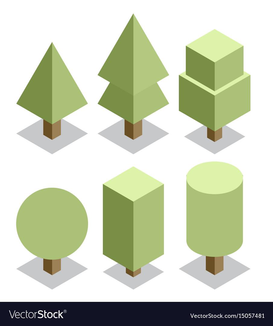Trees set 3d isometric