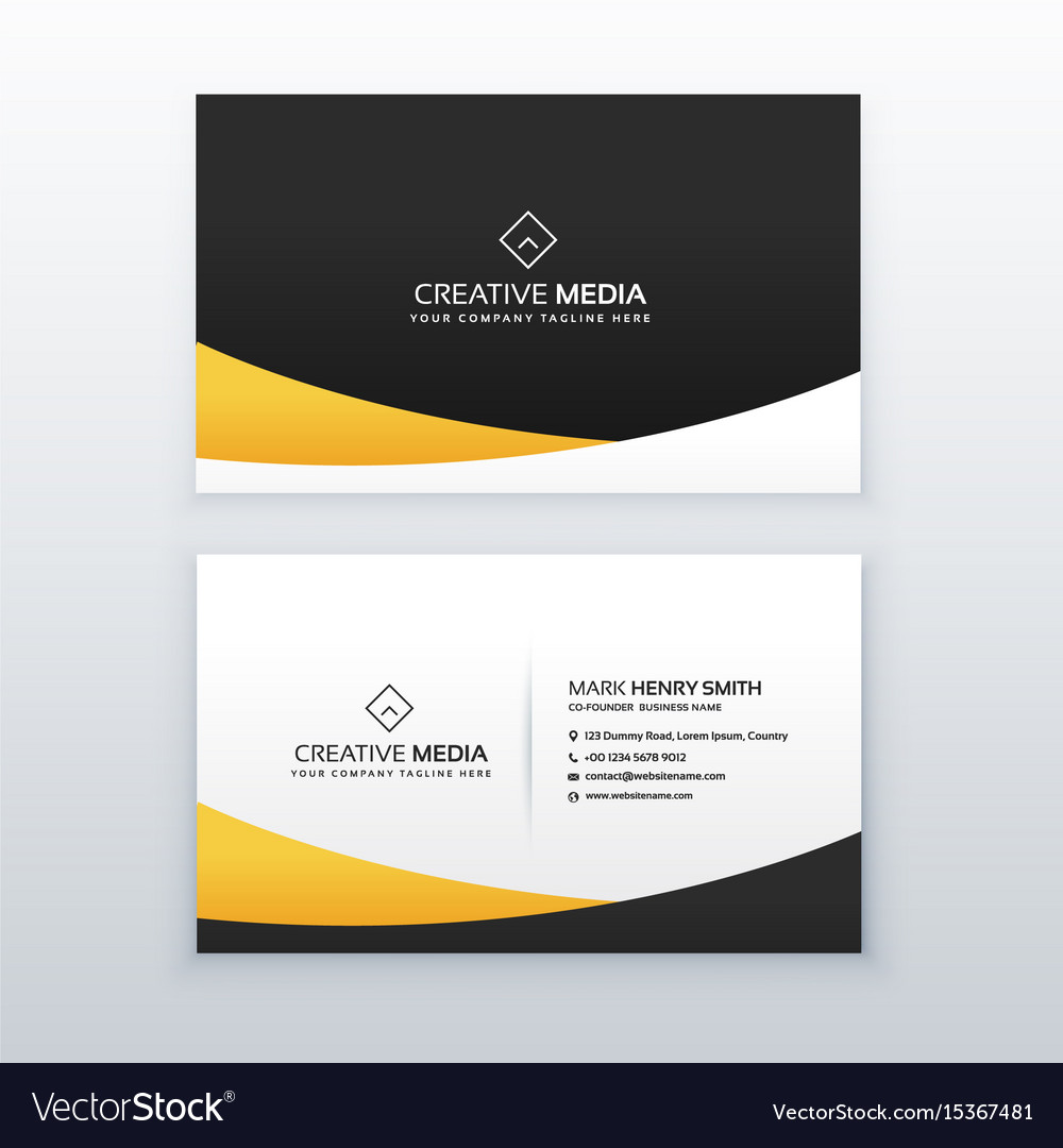 Yellow and black business card design in clean
