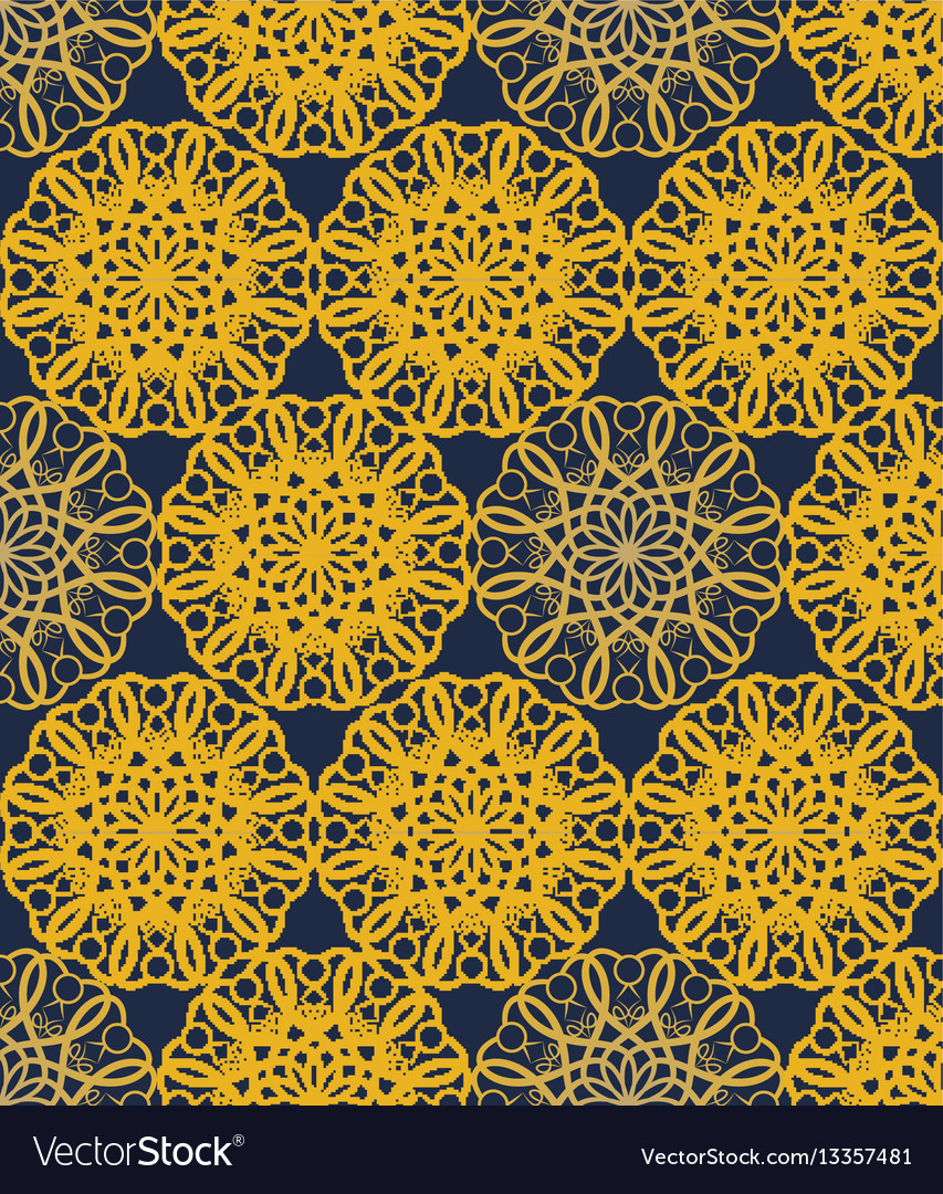 Yellow seamless decorative filigree lace patterns vector image
