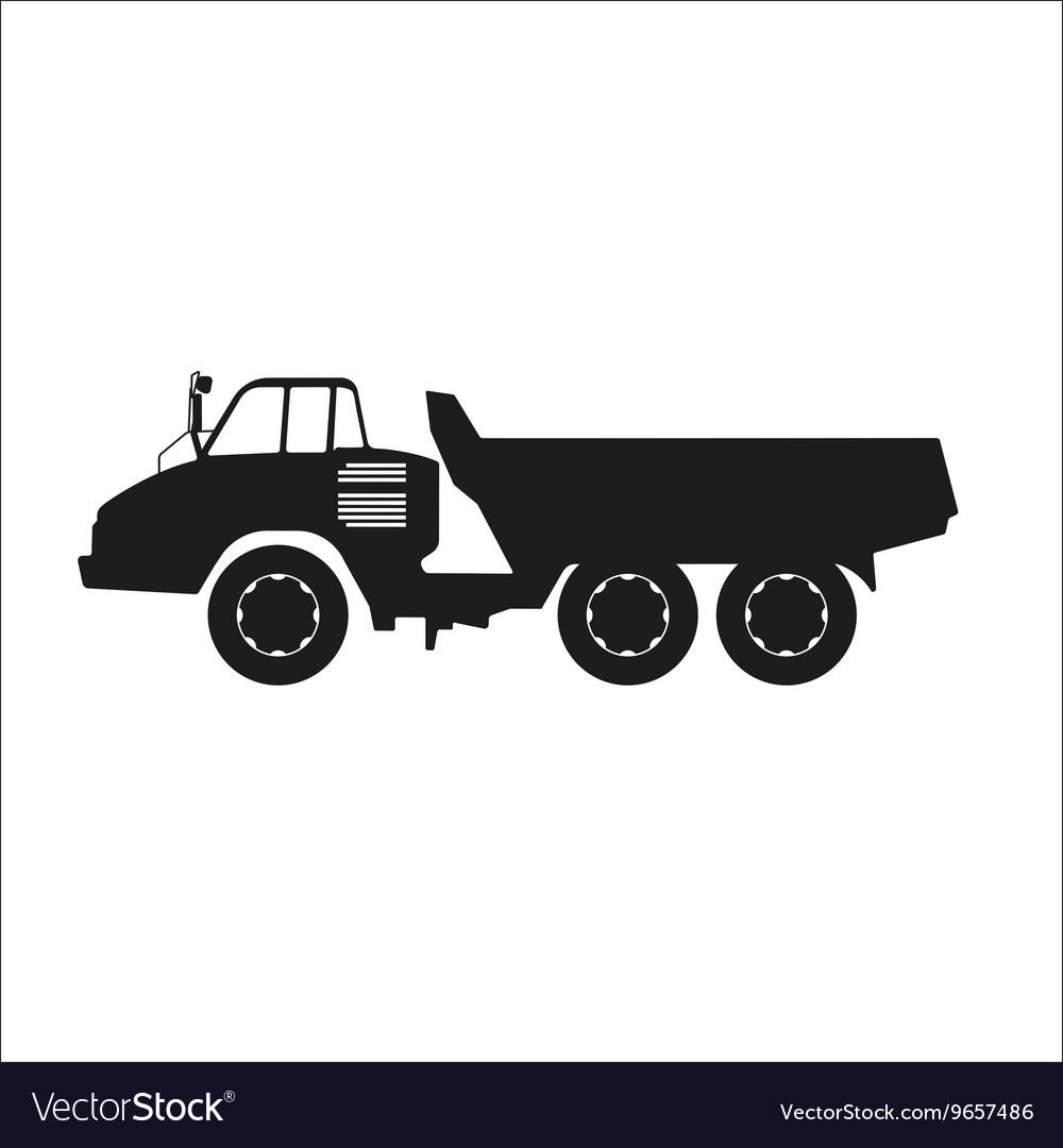 Black silhouette of a dump truck
