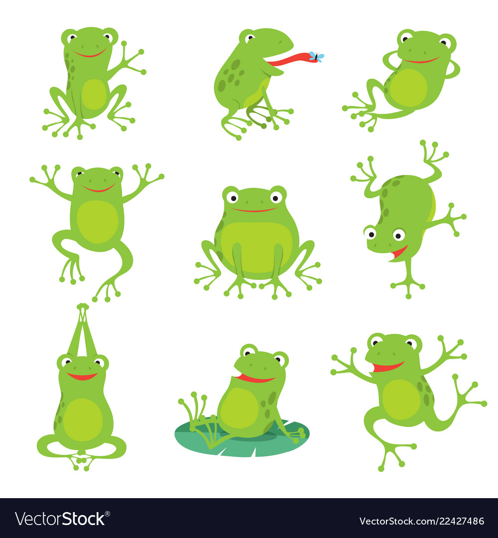 Cute cartoon frogs green croaking toad on lotus